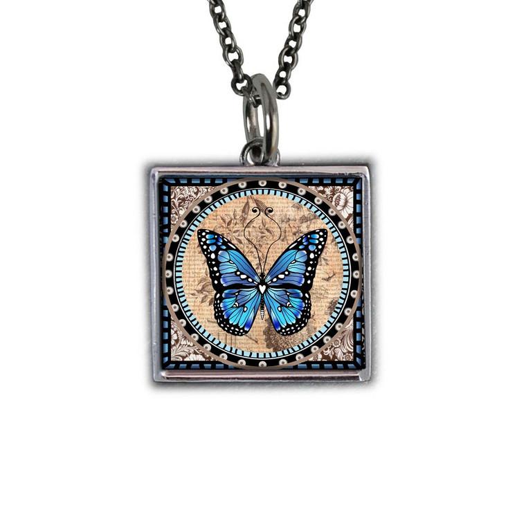 Monarch Blue Reversible Square Pendant