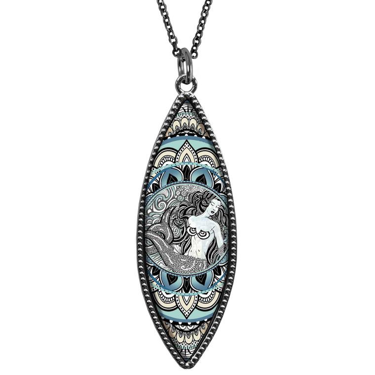 Mermaid Black Marquise Reversible Pendant
