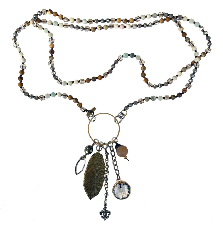 Handmade Soldered Crystal Corded Multi Chain Drop Two Ways Necklace