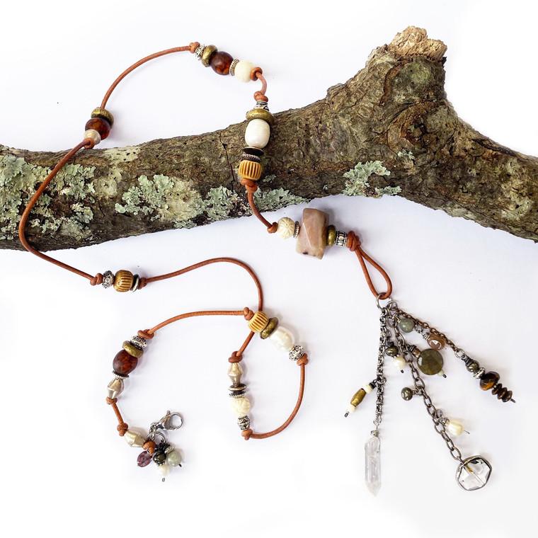 Statement Camel Leather Gemstone Necklace