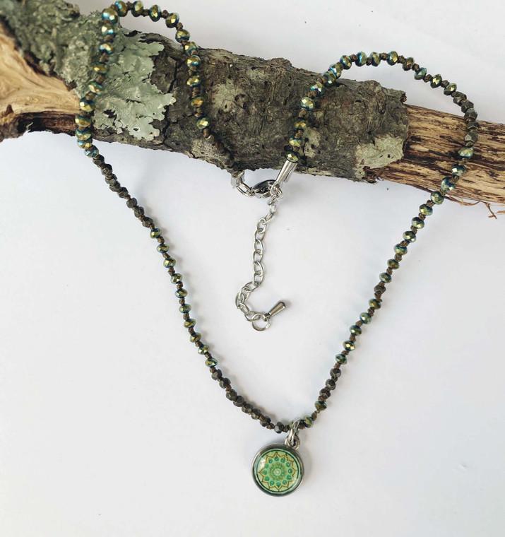 Crochet Corded Necklace Mandala Live Life