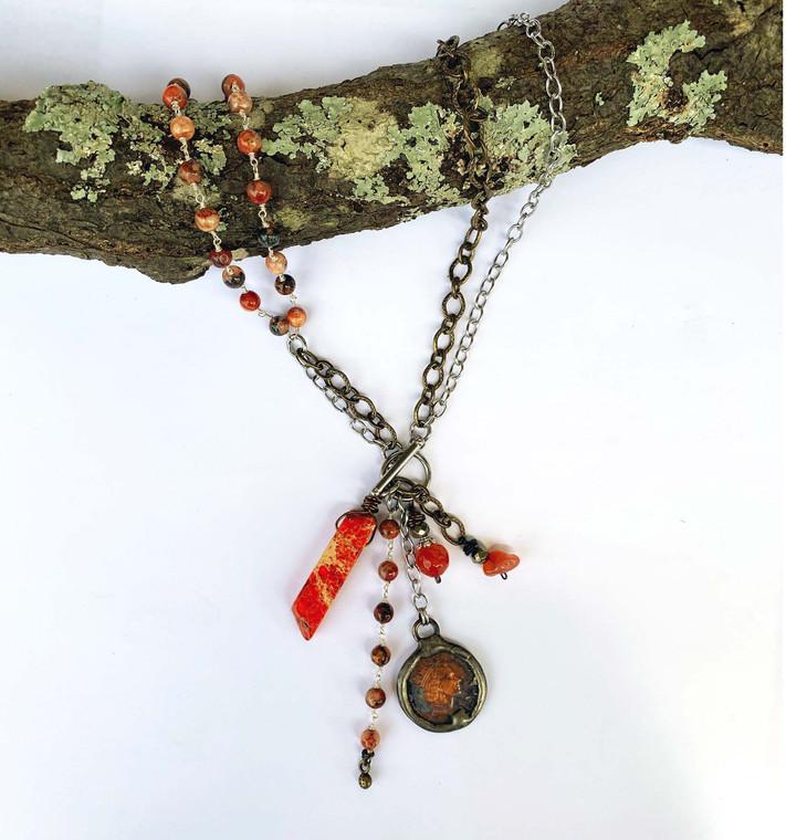Boho Multi Strand Toggle Gemstone Necklace