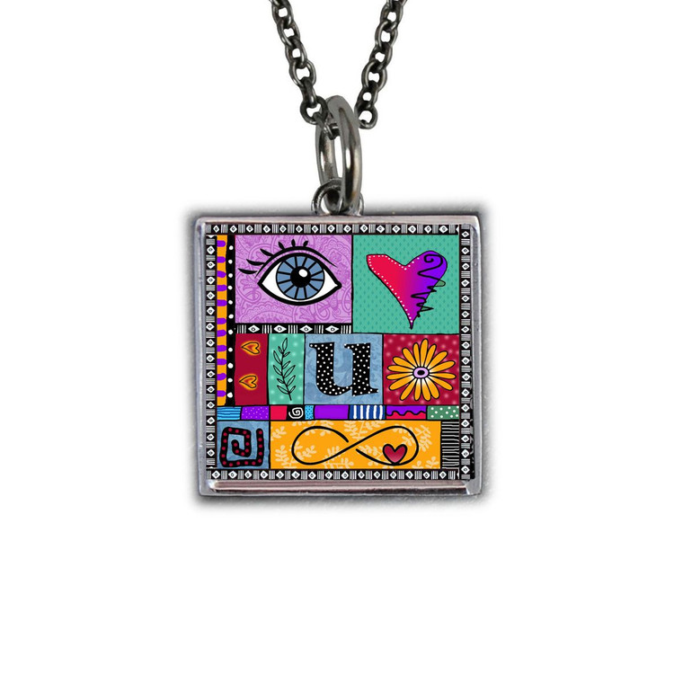 I Love You to Infinity Square Necklace
