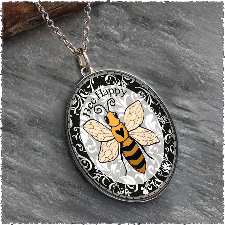 Bee Happy Reversible Silver Oval Pendant
