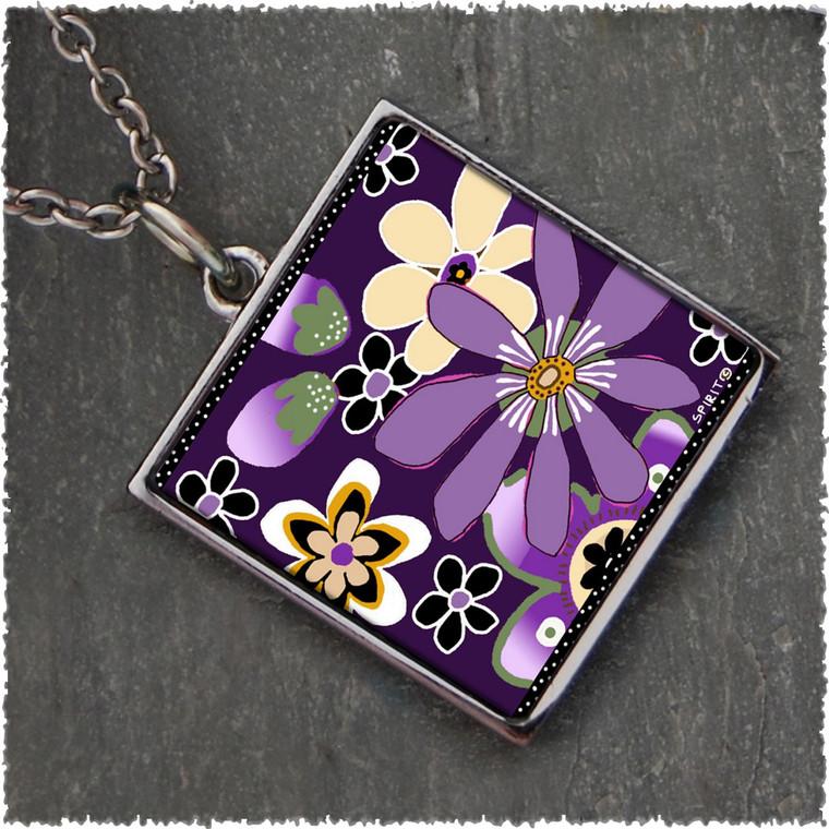 Purple Retro Flower Square Reversible Pendant