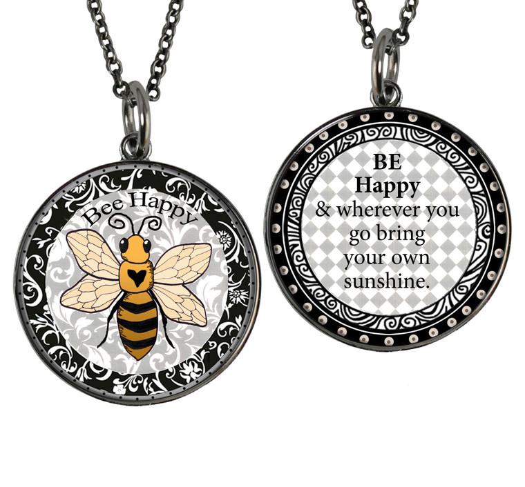 Bee Reversible Circular Pendant