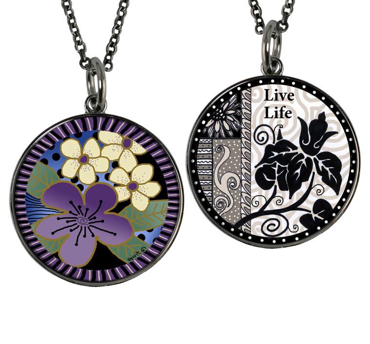 Purple Flower Reversible Circular Pendant