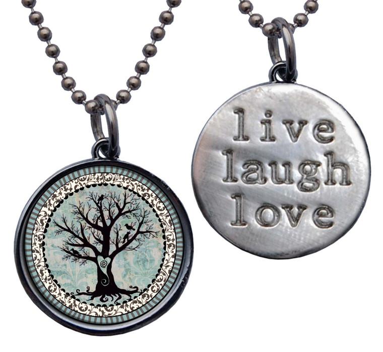"Tree of Life ""Live, Laugh, Love"" Circle Pendant"