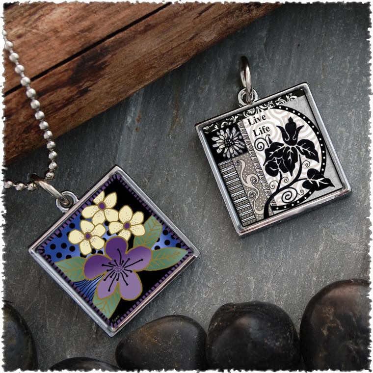 Purple Flower Reversible Square Pendant