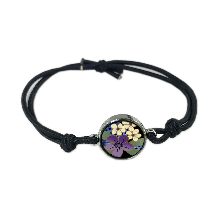 Purple Flower Reversible Stretch Bracelet