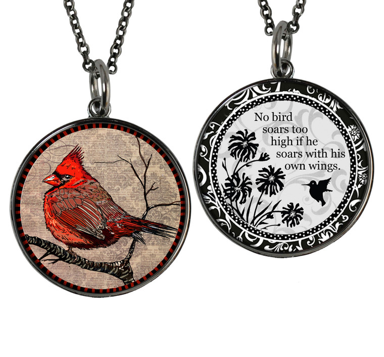 Cardinal Reversible Circular Pendant