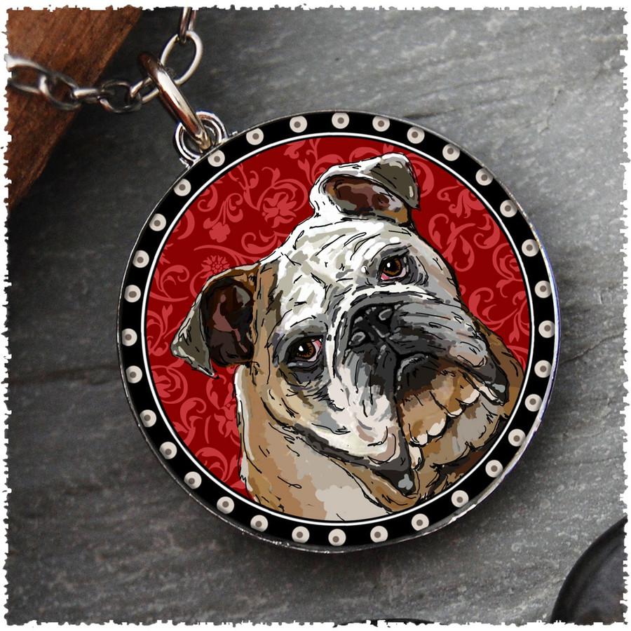 Bull Dog Reversible Circular Pendant
