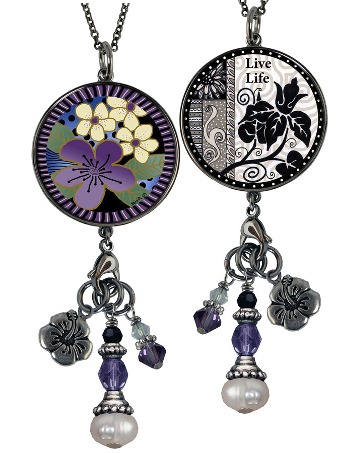 Purple Flower Reversible Circular Charm & Bead Pendant