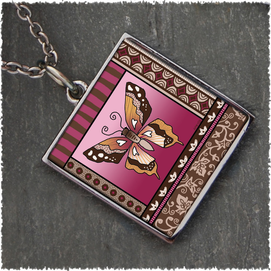 Butterfly Square Reversible Pendant