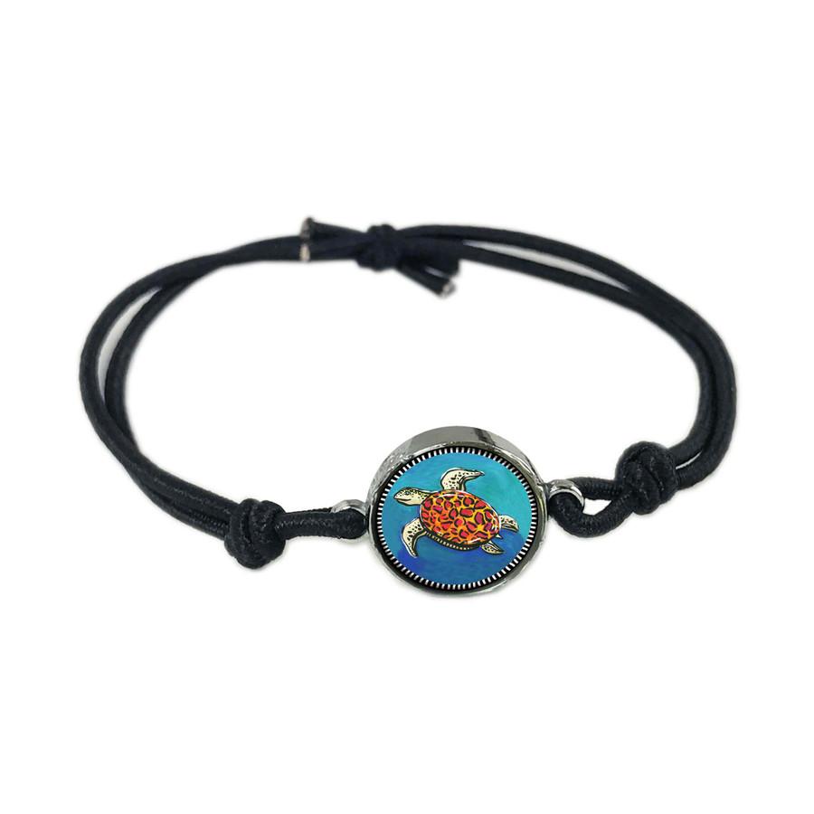 Blue Turtle Reversible Stretch Bracelet