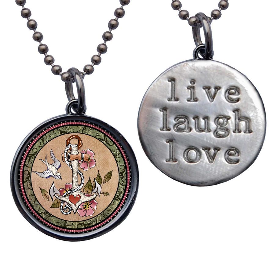 "Anchor "" Live, Laugh, Love"" Circle Pendant"