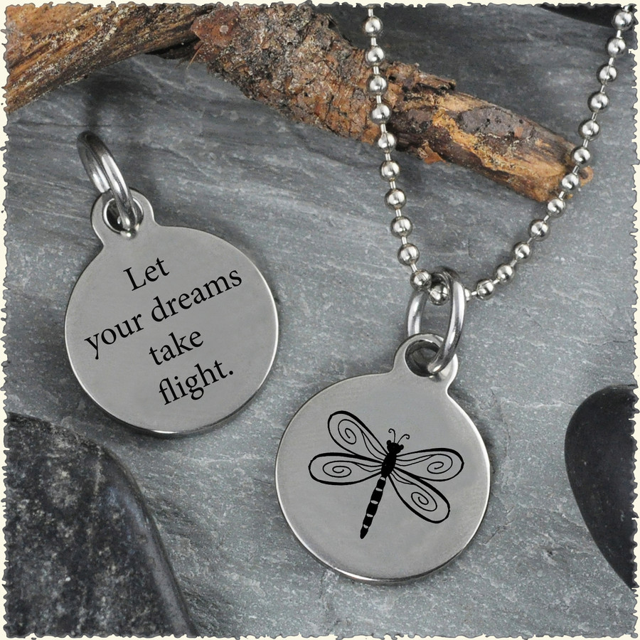 Dragonfly Reversible Stainless Steel Pendant