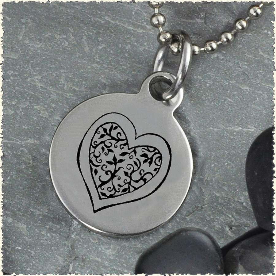 Heart Flower Reversible Stainless Steel Pendant