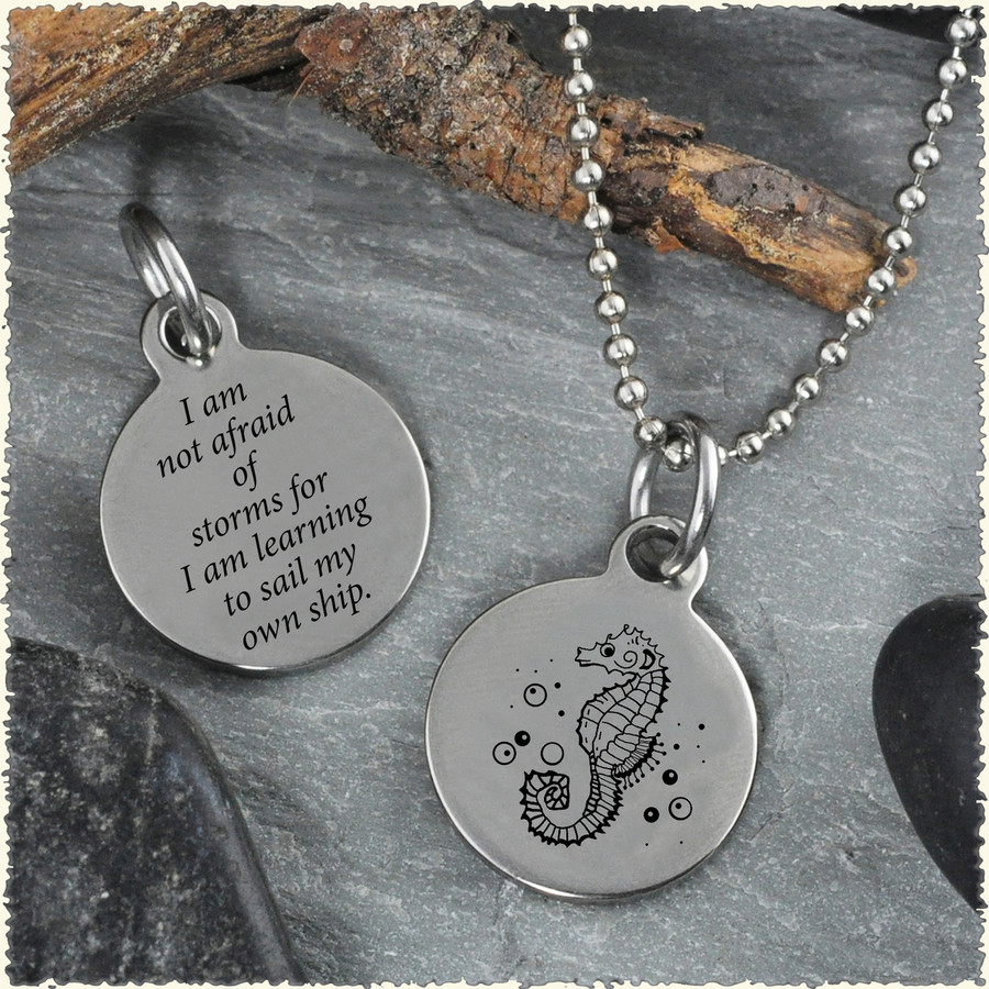 Seahorse Reversible Stainless Steel Pendant