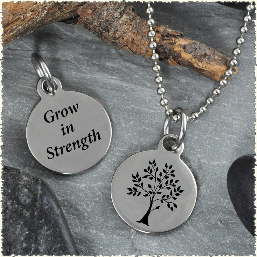 Tree Grow Reversible Stainless Steel Pendant