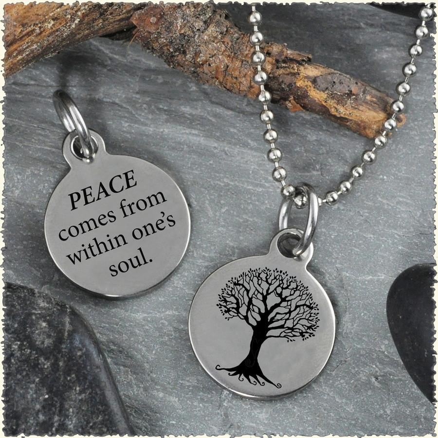Tree Peace Reversible Stainless Steel Pendant