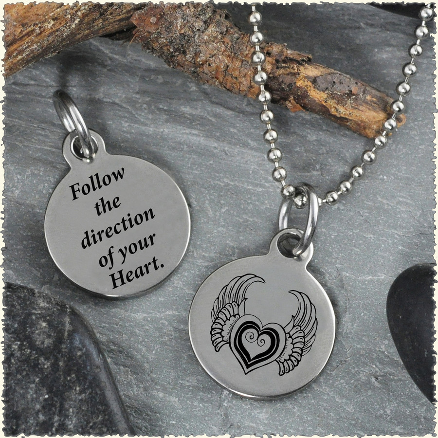 Heart with Wings Reversible Stainless Steel Pendant