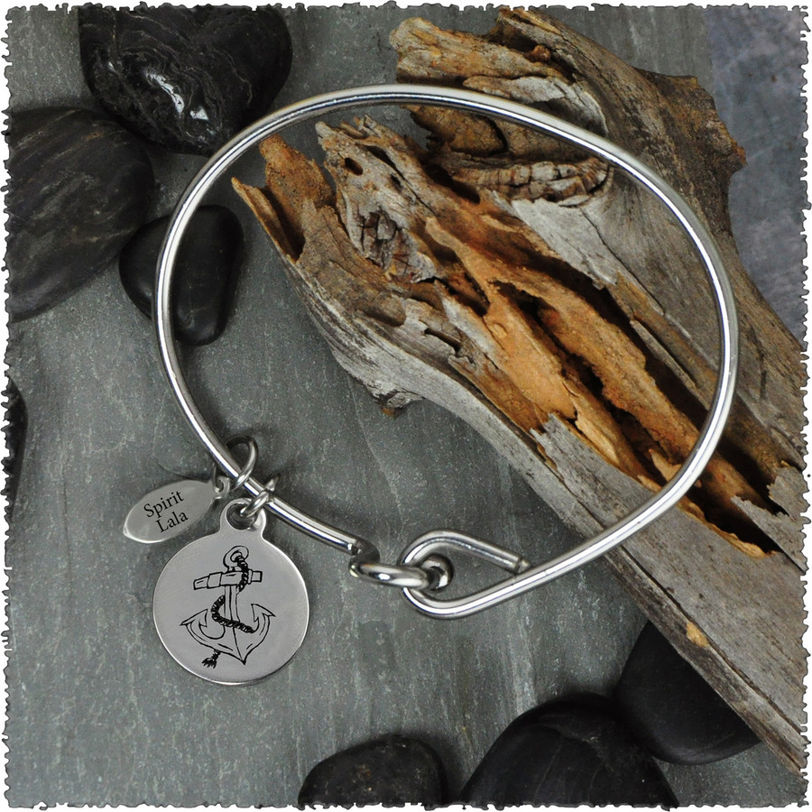 Anchor Stainless Bangle with Reversible Charm