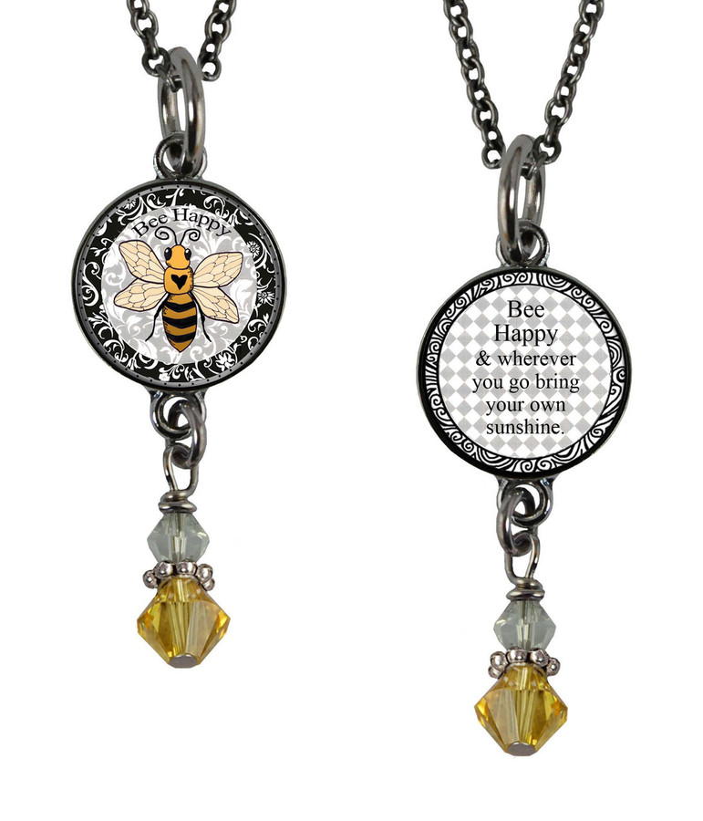 Bee Small Circular Reversible Beaded Pendant