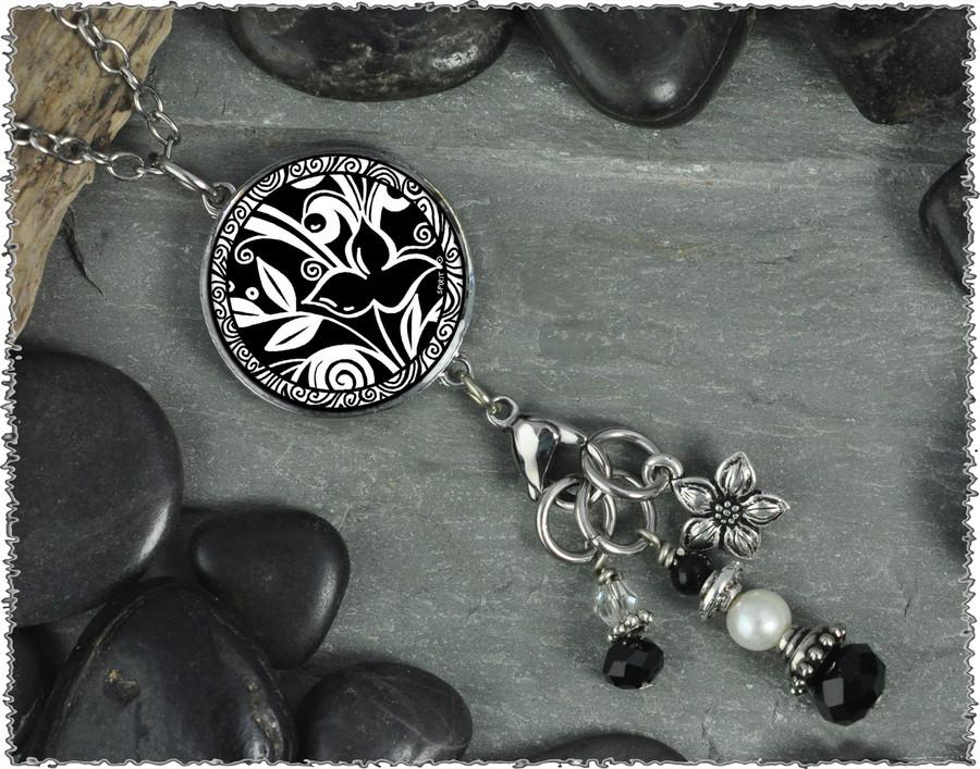Flower Black Reversible Circular Charm and Bead Pendant