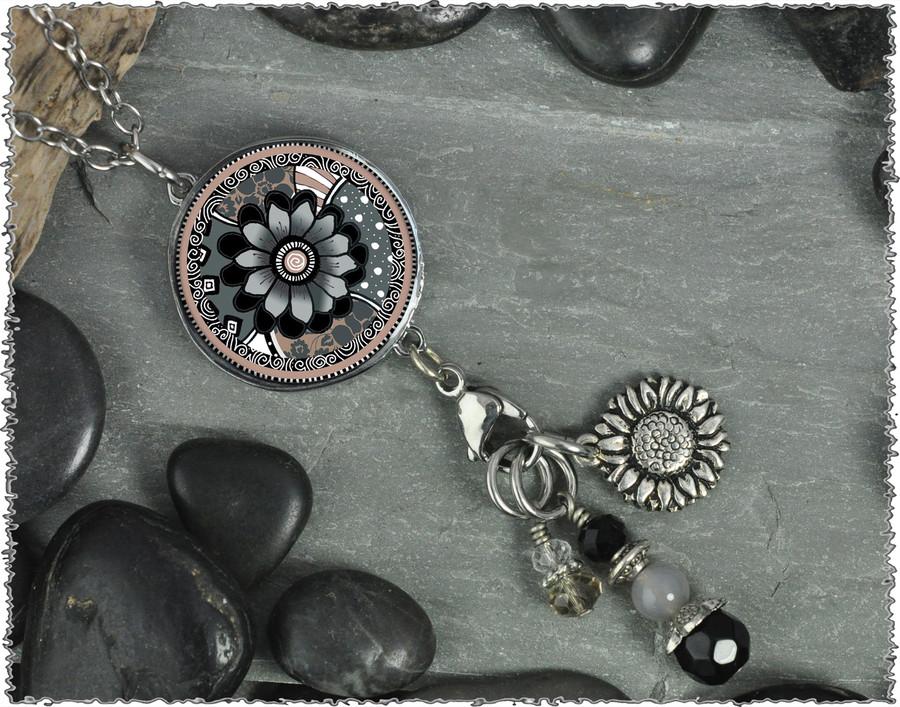 Gray Black Flower Reversible Circular Charm and Bead Pendant