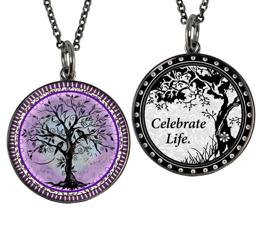 Tree of Life Purple Reversible Circular Pendant