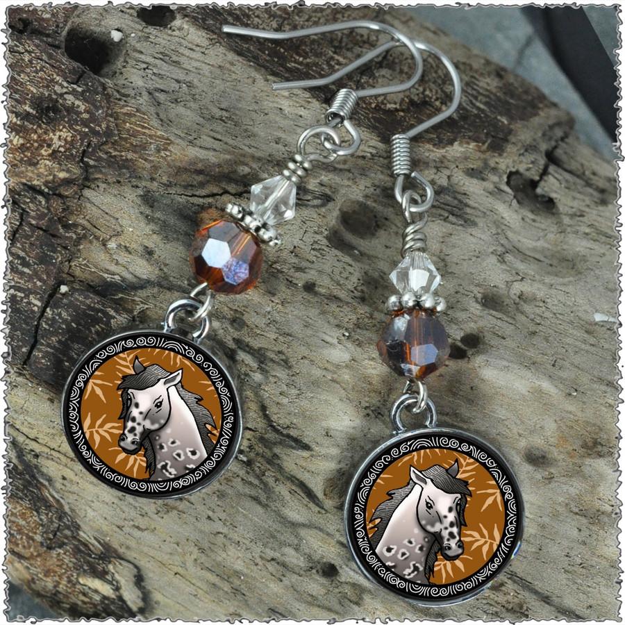 Horse Crystal Circular Earrings