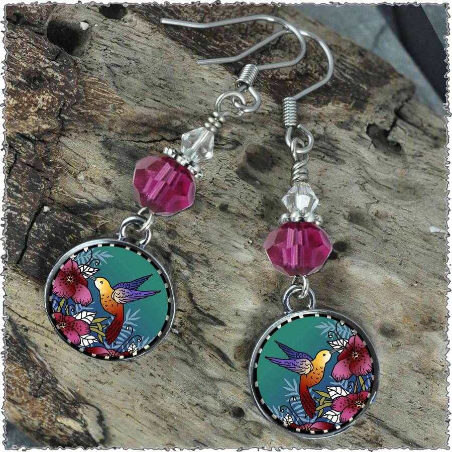 Hummingbird Crystal Circular Earrings