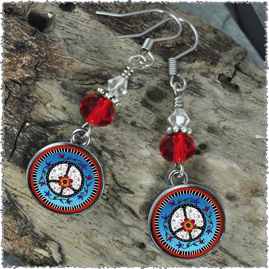 Peace Crystal Circular Earrings