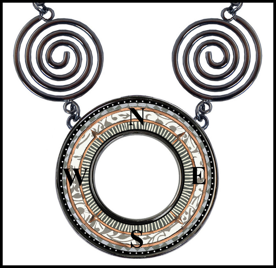 Compass Circle Spiral Necklace