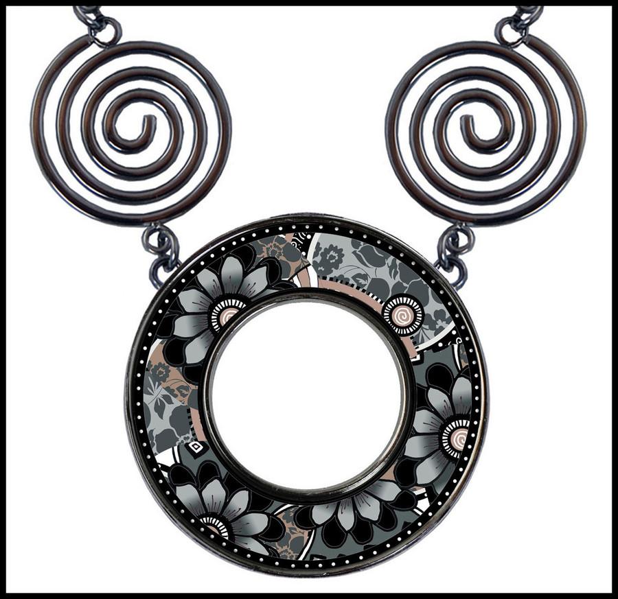 Gray Black Flower Circle Spiral Necklace