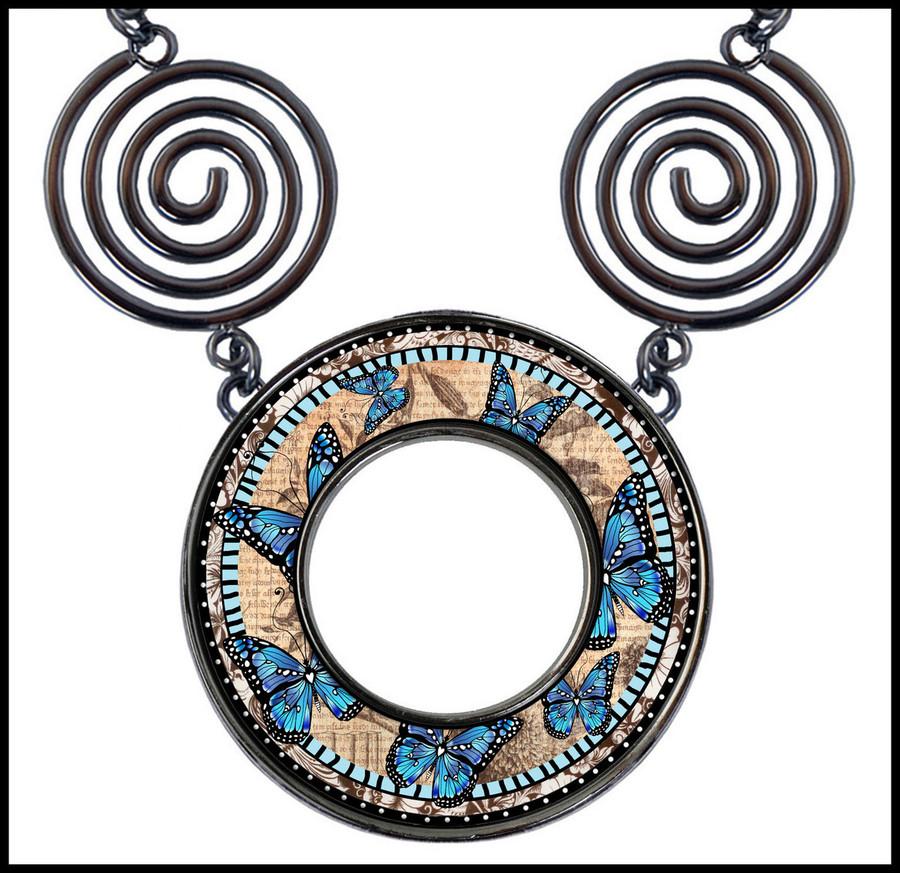 Monarch Blue Circle Spiral Necklace
