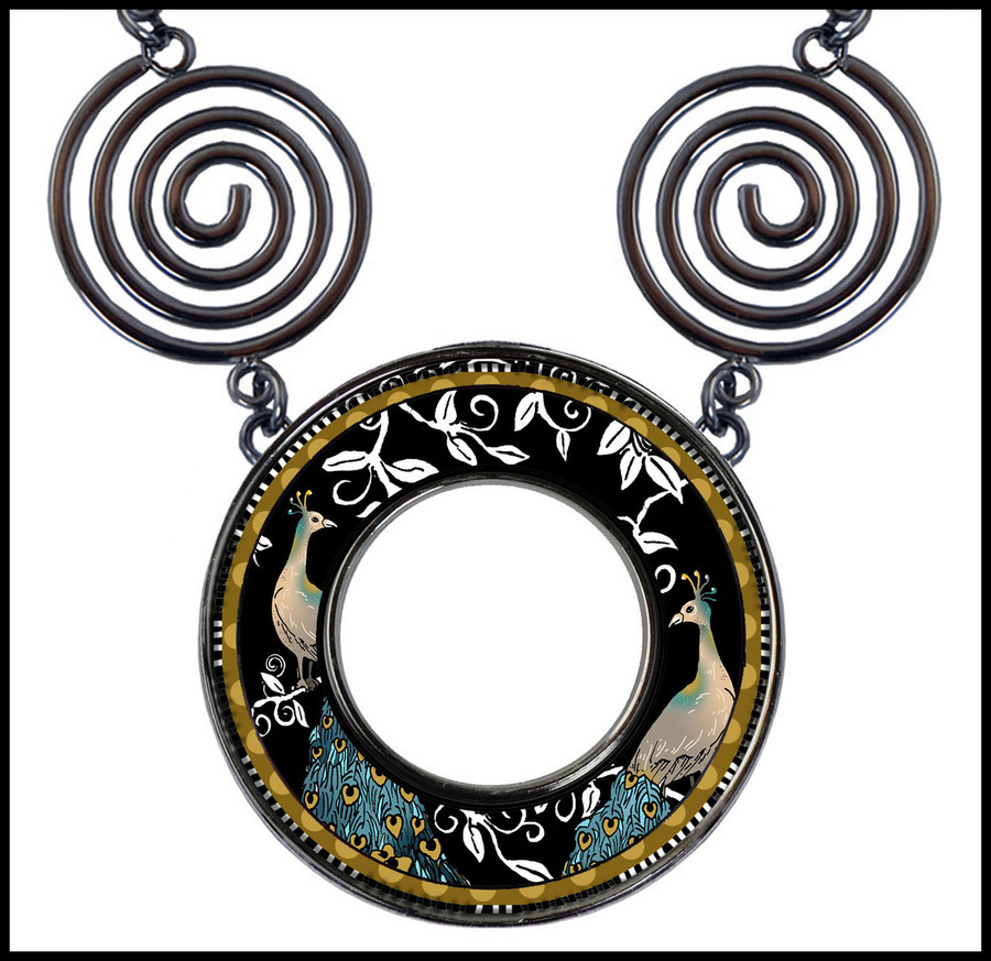 Peacock Black Circle Spiral Necklace