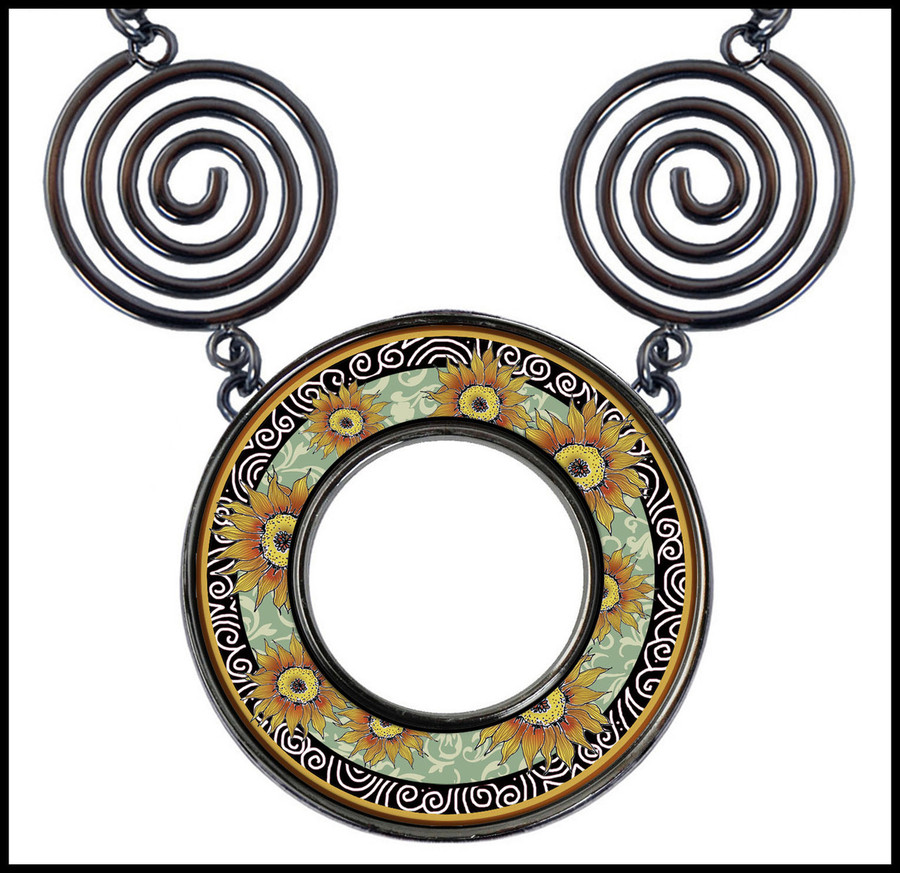 Sunflower Green Circle Spiral Necklace