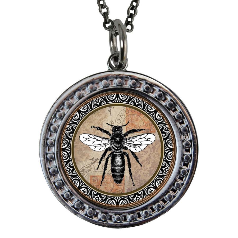 """Brown Bee Circular Reversible Vintage """"Leaf"""" Pendant"""
