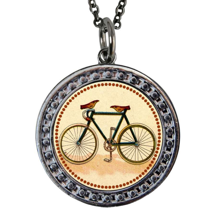 "Bicycle Circular Reversible Vintage ""Leaf"" Pendant"