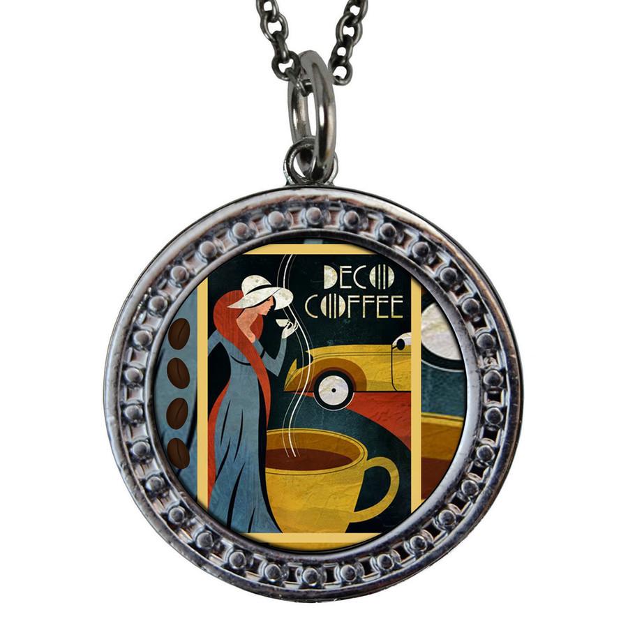 """Coffee Circular Reversible Vintage """"Leaf"""" Pendant"""