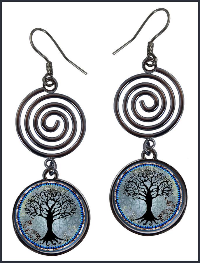 Tree of Life Dark Blue Circle Spiral Earrings