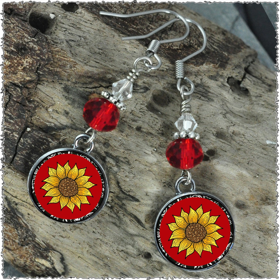 Sunflower Crystal Circular Earrings