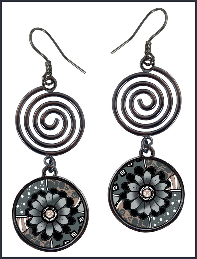 Gray Black Flower Circle Spiral Earrings