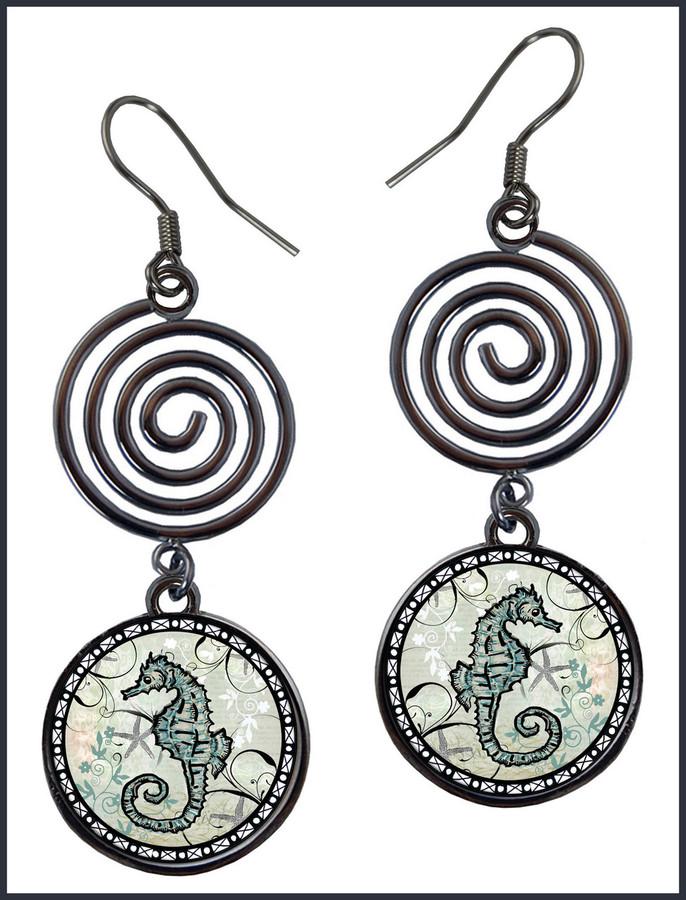Seahorse Circle Spiral Earrings