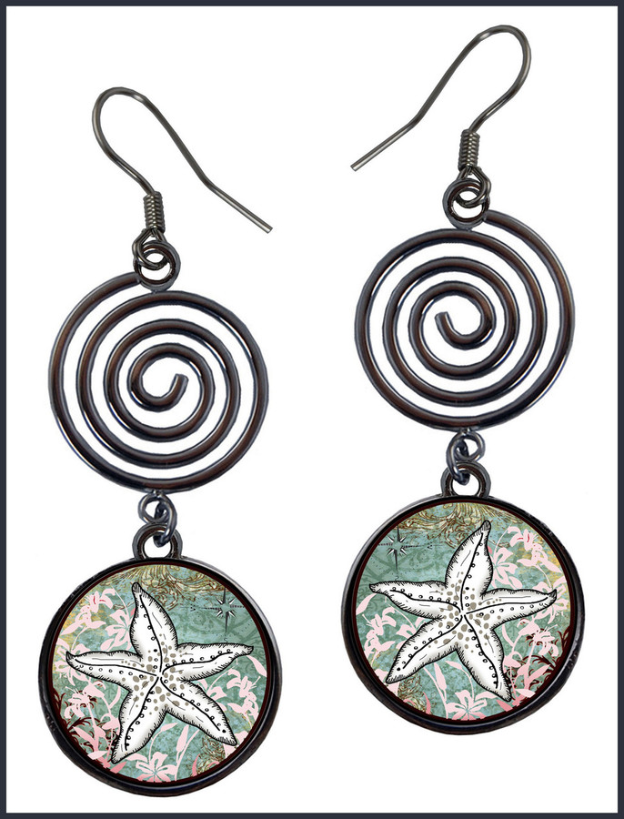 Starfish Circle Spiral Earrings