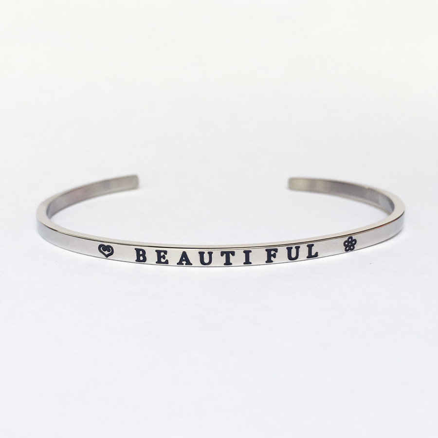 """BEAUTIFUL"" Stainless Steel Cuff Bracelet"
