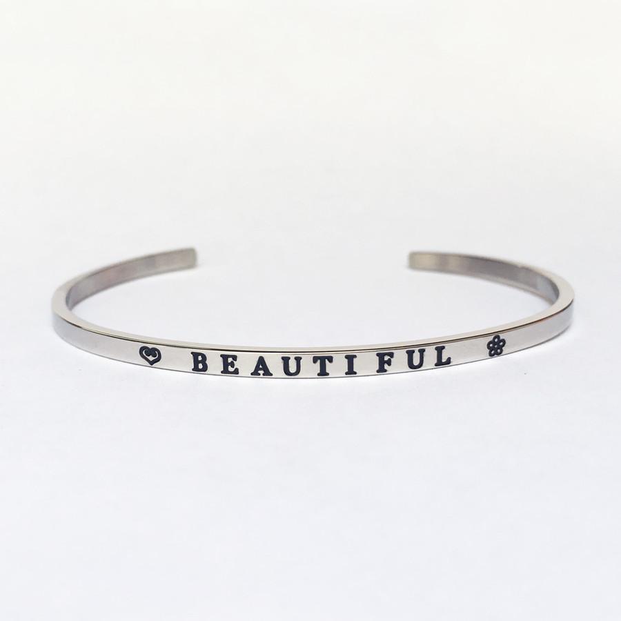 """""""BEAUTIFUL"""" Stainless Steel Cuff Bracelet"""