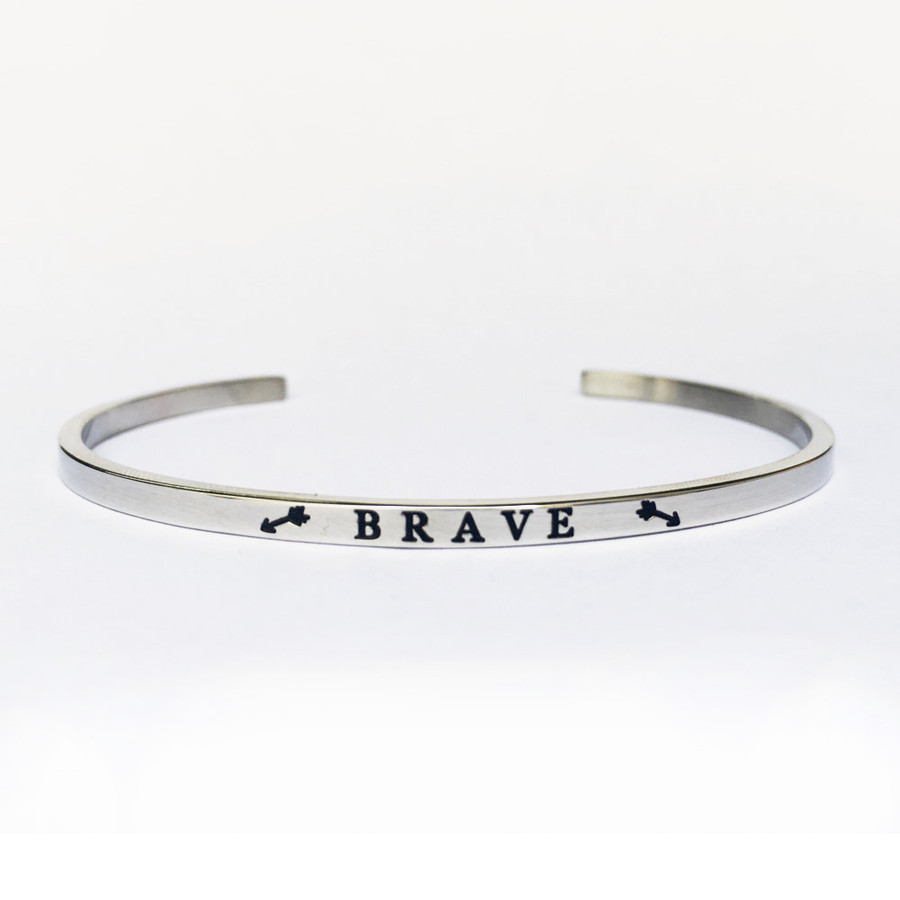 """BRAVE"" Stainless Steel Cuff Bracelet"